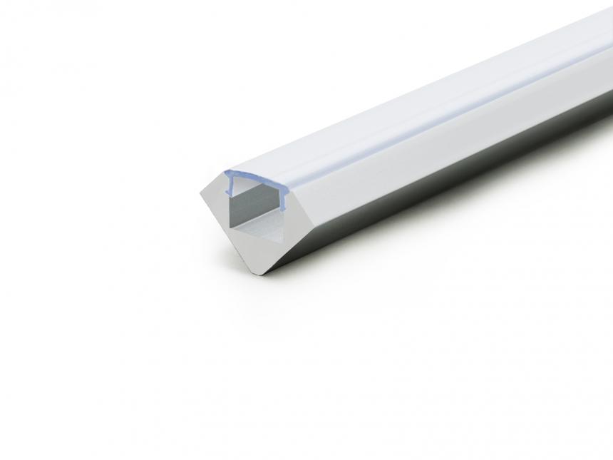 LED AluProfil 45-Grad silber mit Abdeck 2,0m opalweiß