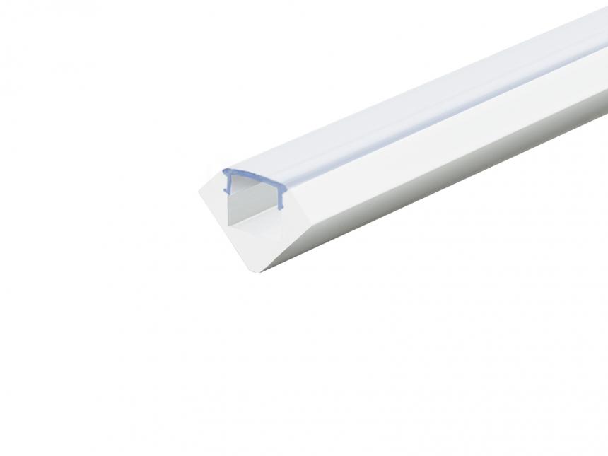 Alu Profil 45-Grad weiß lackiert mit Abdeckung 1,0m transparent