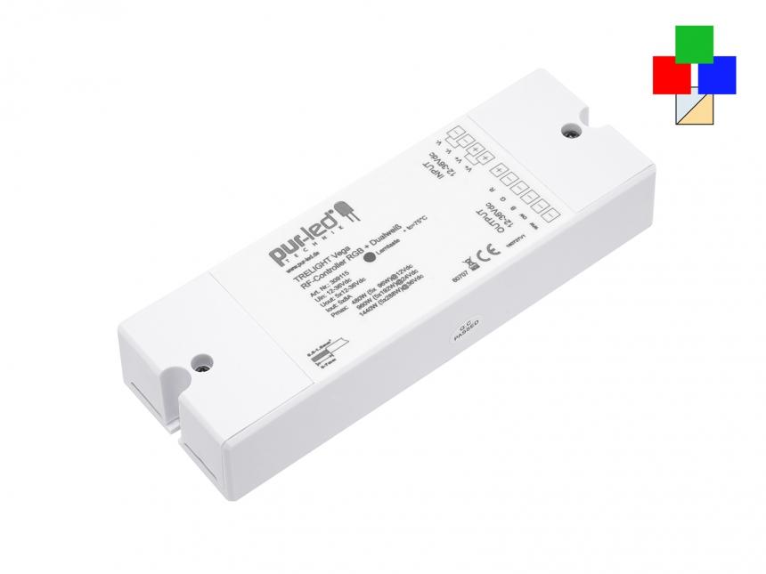 TRELIGHT Vega RF-Controller RGB + Dualweiß: 12-36Vdc/5x8A CV