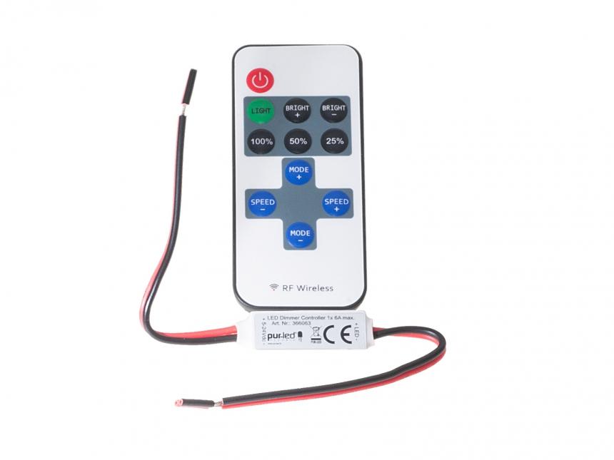 LED Dimmer Mini Funk SET 5-24Vdc/1x6A Controller + Funkfernbed