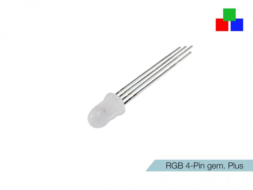 DIFFUSE RGB-Rainbow 4-Pin LED 5mm gemeinsamer PLUS