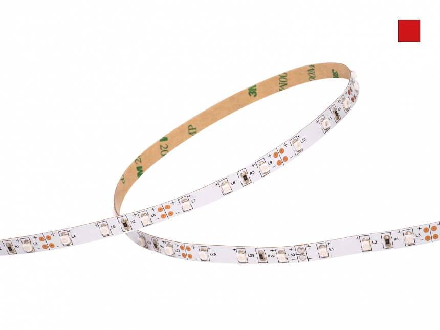 1m LED Stripe rot 12Vdc, 4W/m, 120lm/m, 60LEDs/m, 1CHIP
