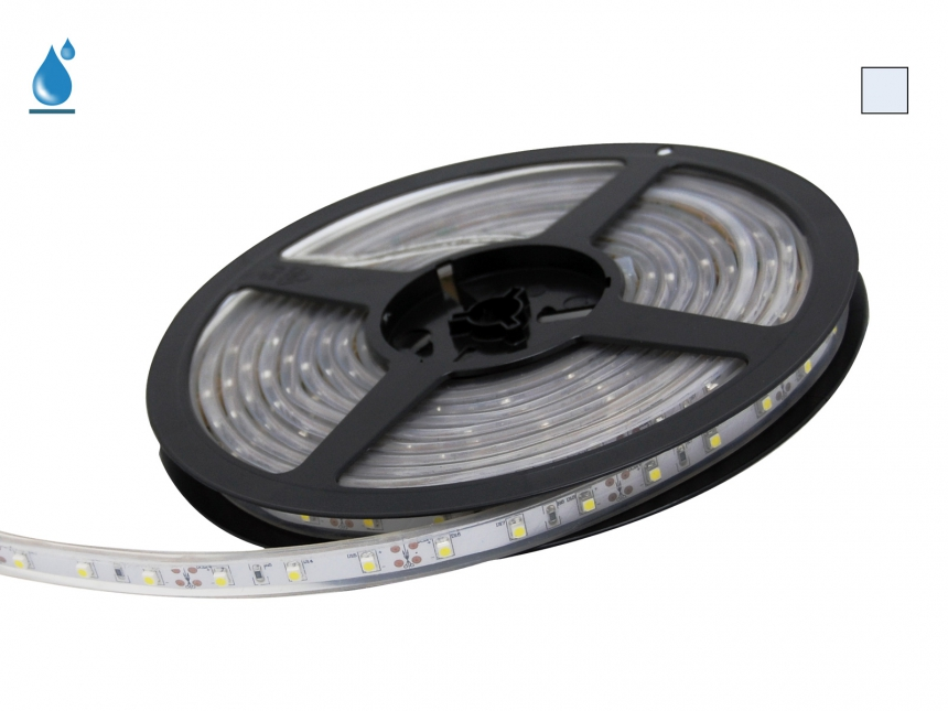 5m LED Stripe kaltweiß 12Vdc 4W/m 290lm/m 60LEDs/m IP67