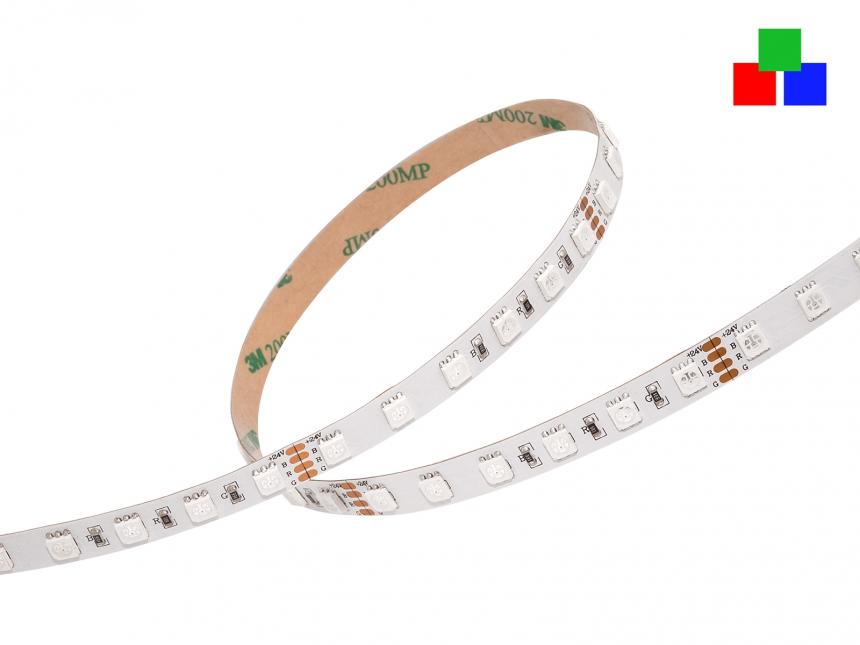 LED Stripe RGB 24Vdc 16W/m 500lm/m 72LEDs/m 1,0m