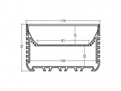 LED Alu U-Profil 116mm silber mit Abdeckung