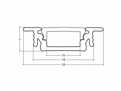 LED Alu T-Profil AL-PU5 silber mit Abdeckung