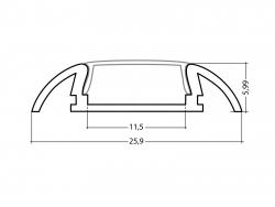 LED Alu Flachprofil AL-PU8 silber 2m mit Abdeckung