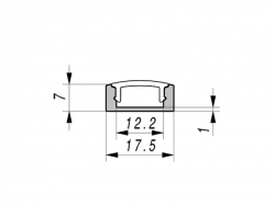 LED Aluminium U-Profil Slim 7mm, silber eloxiert, mit Abdeckung