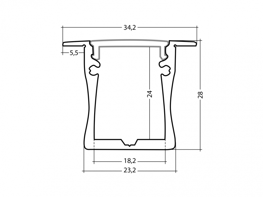 LED Alu T-Profil Slim XL 28mm silber mit Abdeckung 1,0m transpare