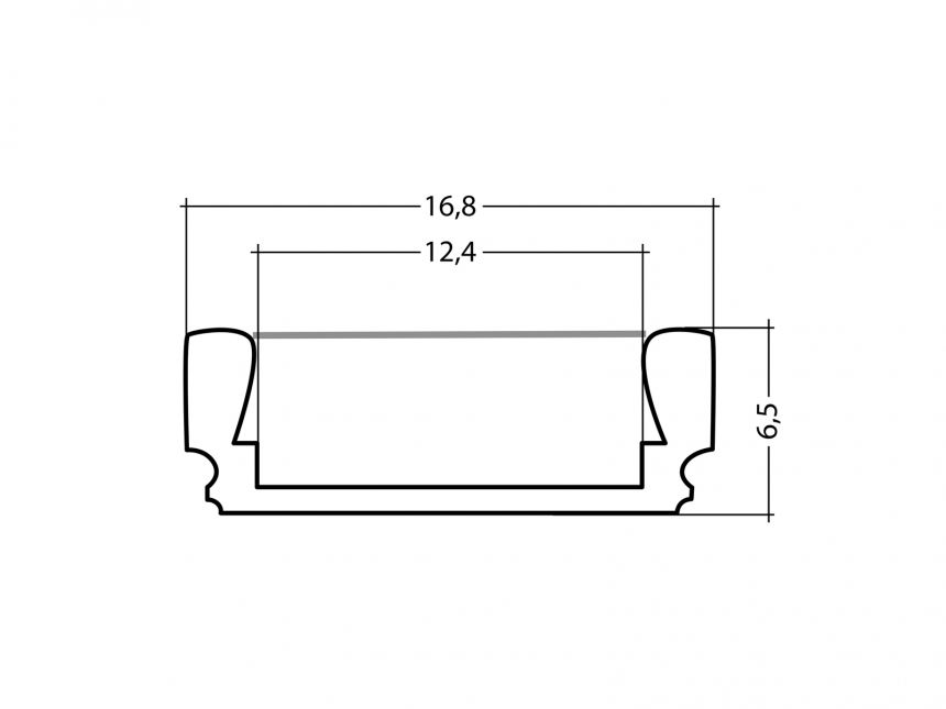 LED Alu U-Profil AL-PU1 6mm silber mit Abdeckung transparent 2,0m