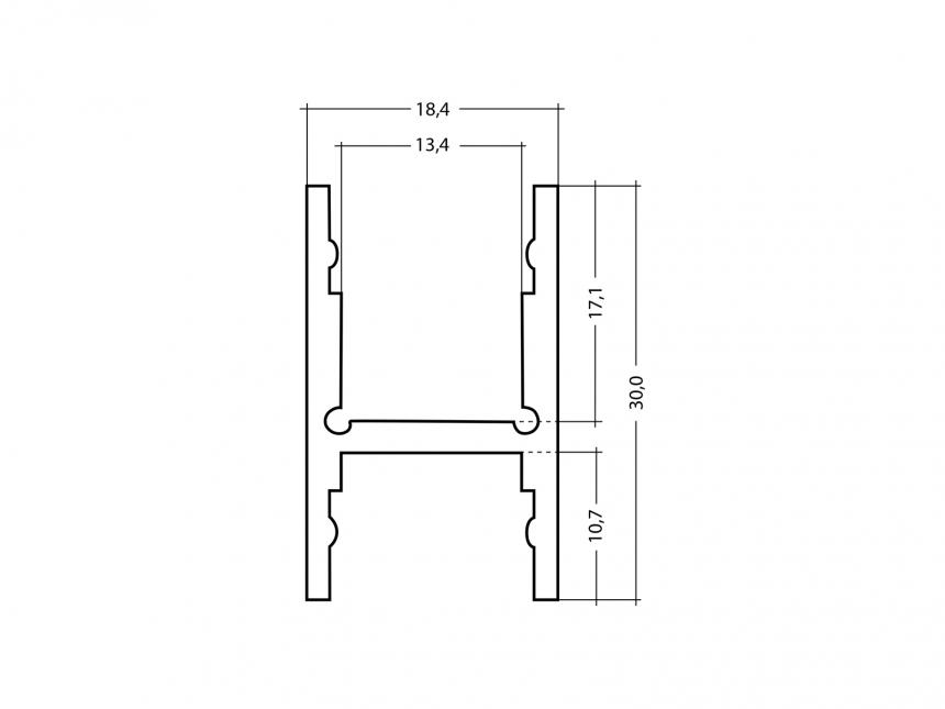 Alu H-Profil 30mm XXLineHigh silber mit Abd 5,0m opalweiß