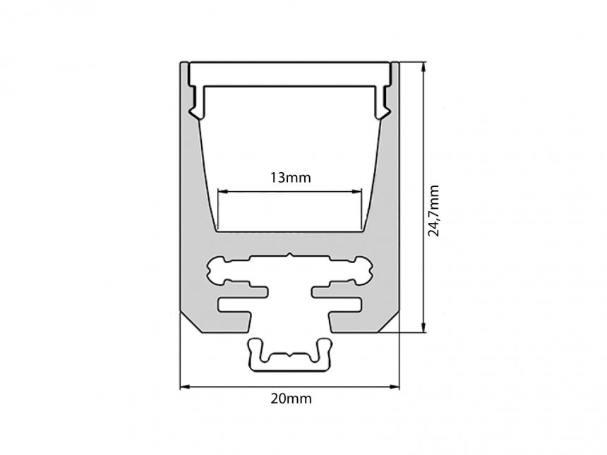 Alu Profil 25mm silber mit Abd 1,0m transparent