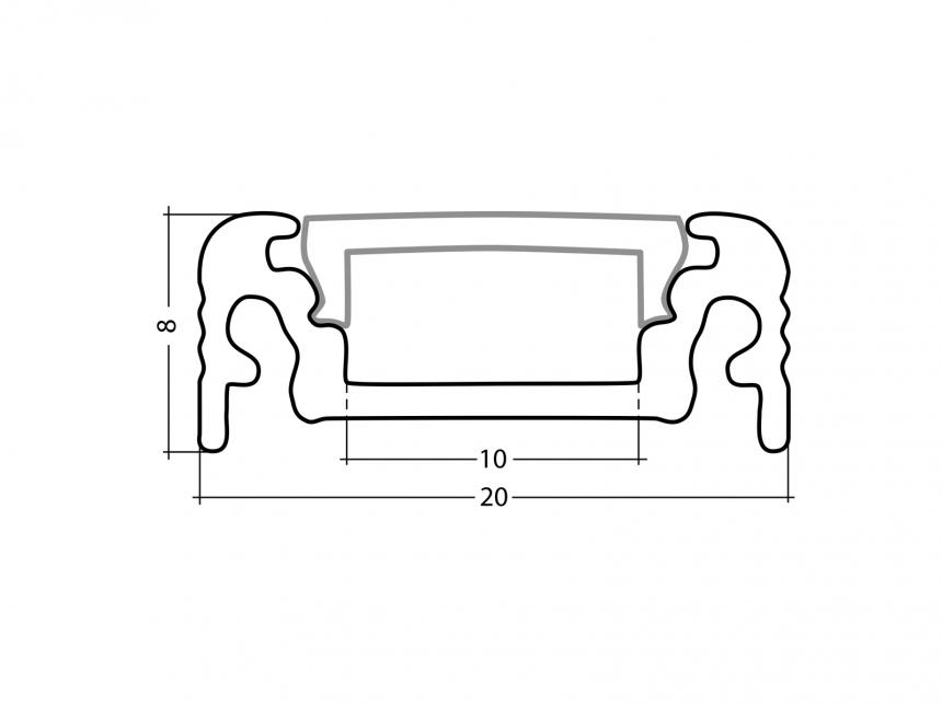 LED Alu U-Profil AL-PU4 silber mit Abdeckung 1,0m
