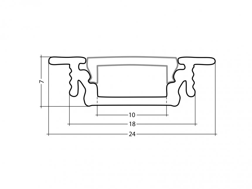 LED Alu T-Profil AL-PU5 silber mit Abdeckung 1,0m