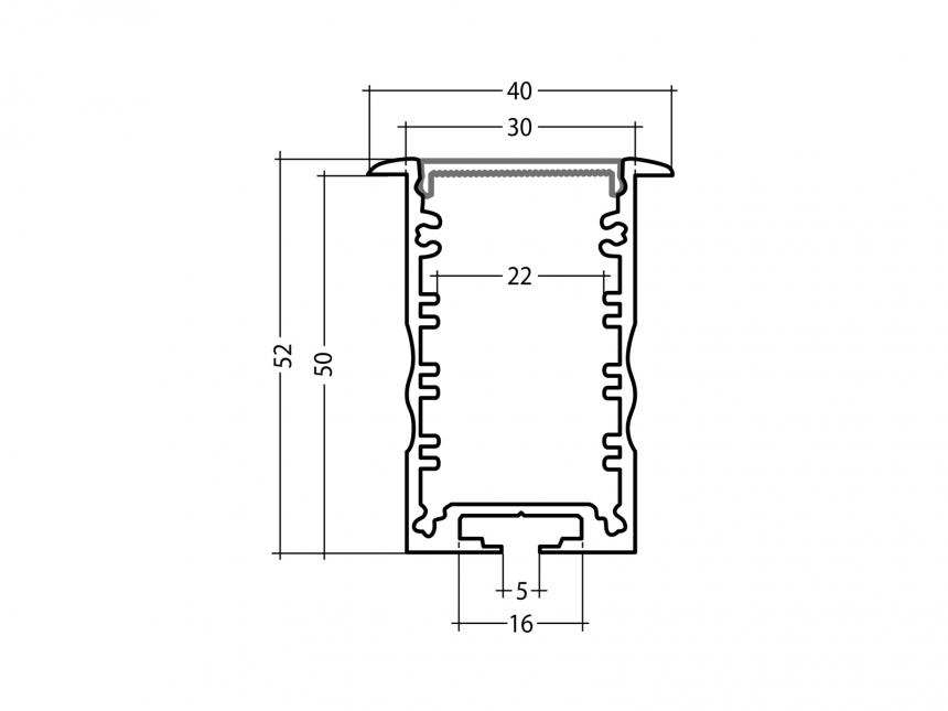 LED Alu T-Profil High 30mm silber mit Abdeckung 1,0m transparent