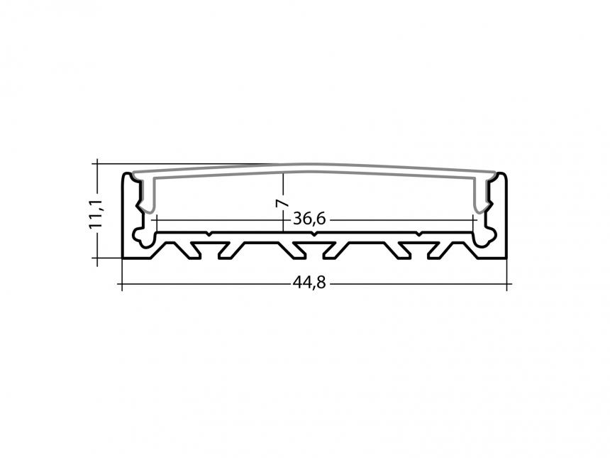 LED Alu U-Profil Triple silber mit Abdeckung 1,0m opalweiß