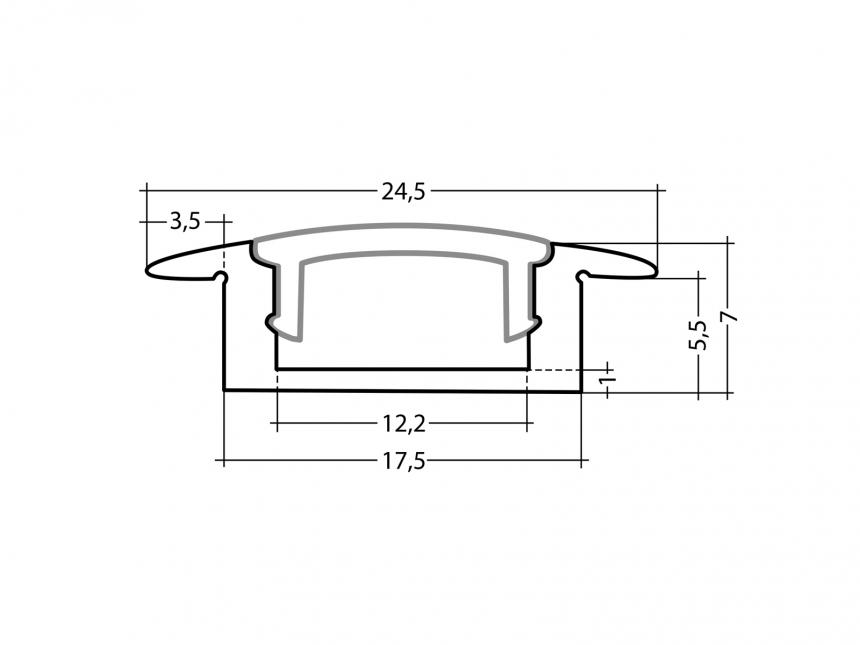 LED Alu T-Profil Slim 7mm silber mit Abdeckung 1,0m opalweiß