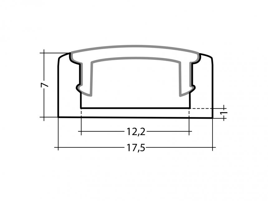LED Alu U-Profil Slim 7mm silber mit Abdeckung