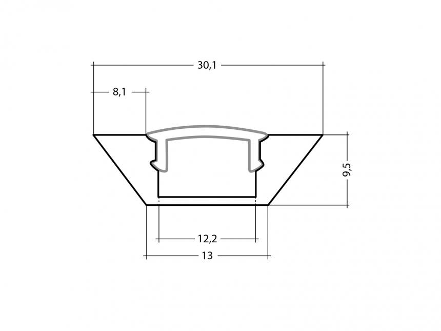Alu Eckprofil flache Ecke silber mit Abdeckung 1,0m opalweiß