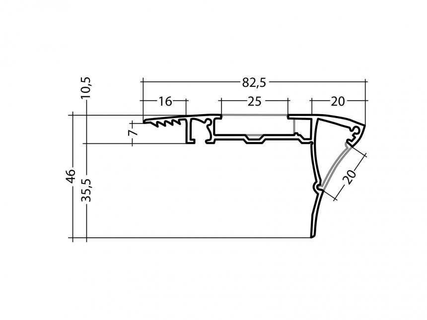 Alu Treppenstufenprofil Typ B2 silber mit Abdeckung