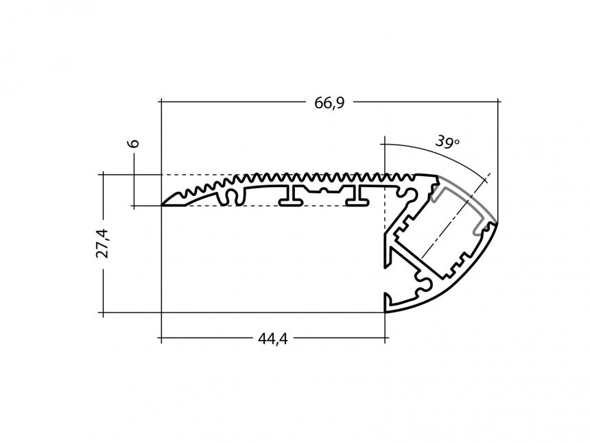 Alu Treppenstufenprofil TypA silber mit Abd 1,0m opalweiß