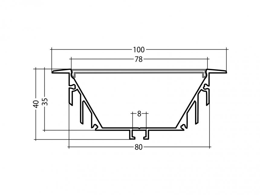 LED Alu T-Profil 80mm silber mit Abdeckung 1,0m transparent