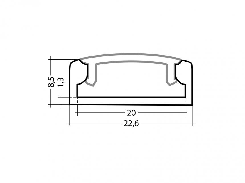 LED Alu U-Profil Slim XL 8mm silber mit Abdeckung 2,0m opalweiß