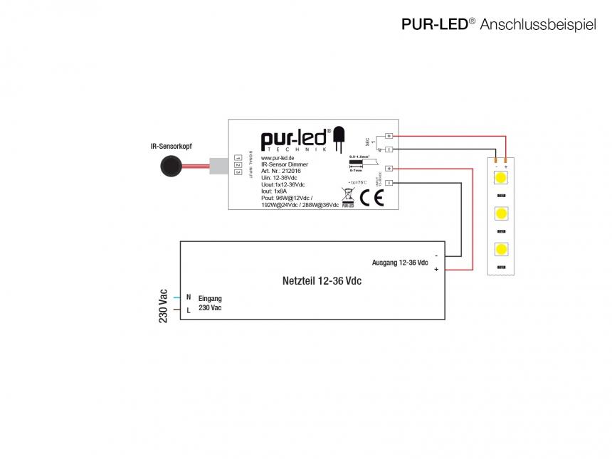 Lichtschranke / berührungsloser Dimmer inkl. Sensor 12-36Vdc 8A