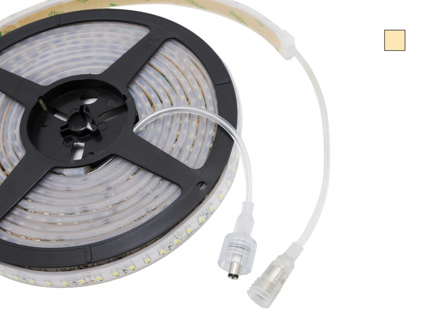 LED Stripe warmweiß 12Vdc 4W/m 330lm/m 60LEDs/m IP67 5,0m