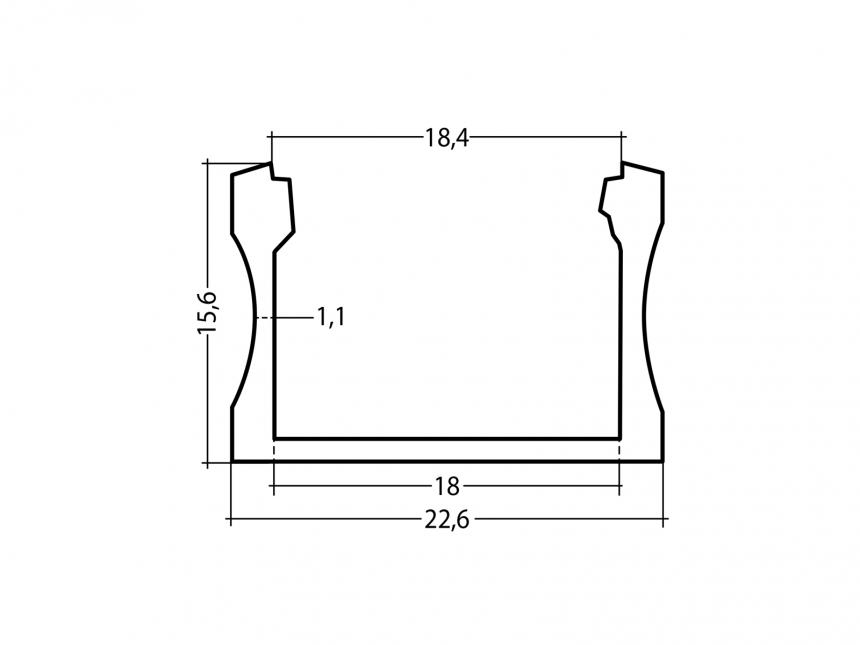 LED Alu U-Profil Slim XL 15mm silber mit Abdeckung 3,0m transpare