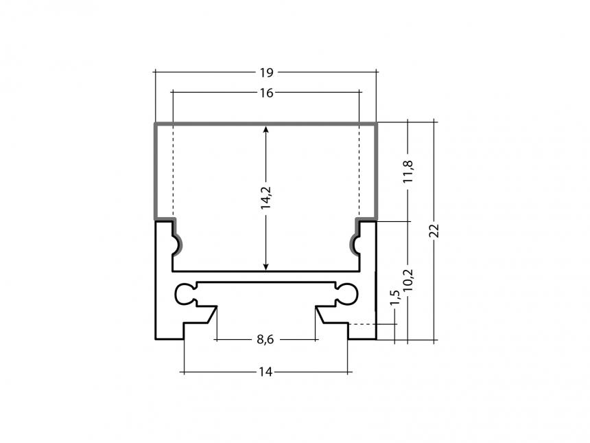LED Alu Profil XXLine Define silber mit Abdeck 5,0m flach transp