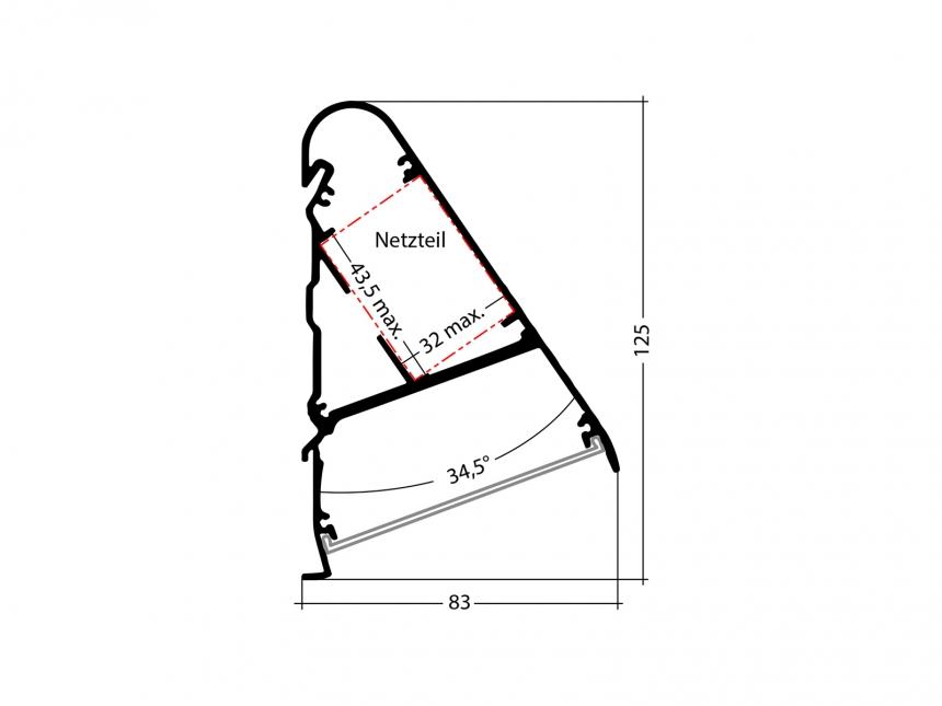 LED Alu Triangelprofil silber mit Abdeckung 1,0m transparent