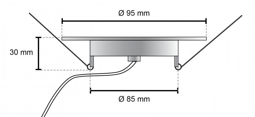 LED Deckenleuchte Monaco S2 95mm 24Vdc warmweiß LED Panel