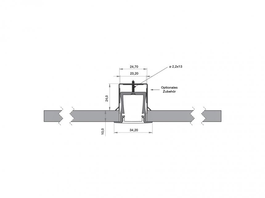 LED Alu T-Profil Slim XL 28mm silber mit Abdeckung 1,0m opalweiß
