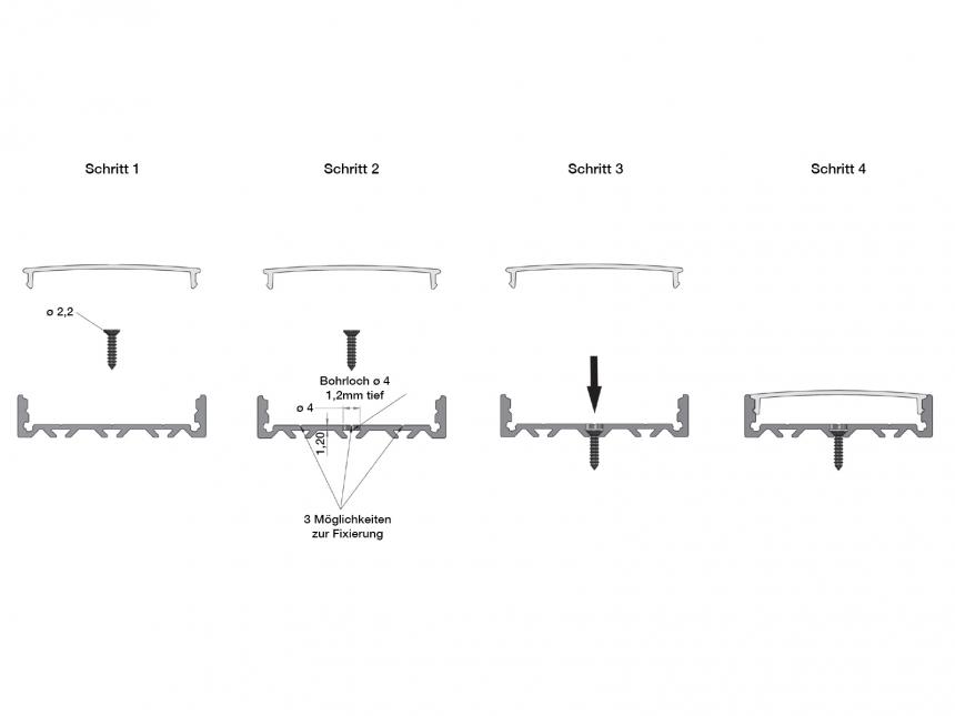 LED Alu U-Profil Triple silber mit Abdeckung 2,0m opalweiß