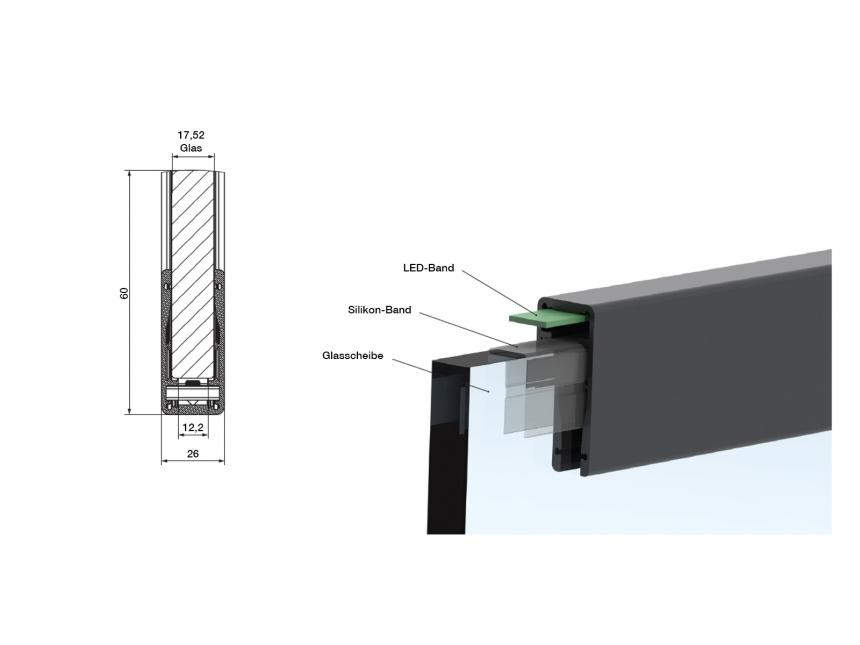 LED Alu Profil für Glashandlauf, silber eloxiert 2,0m