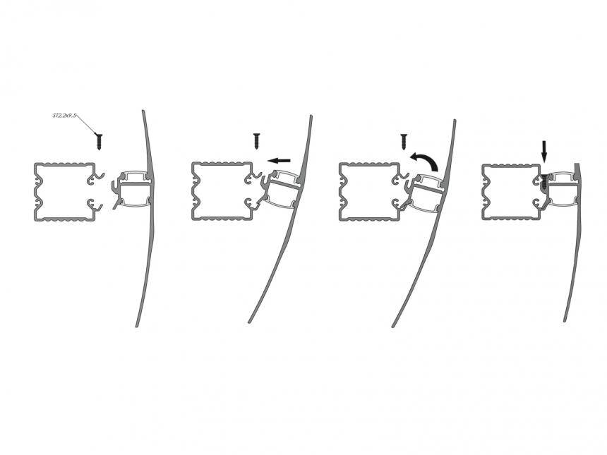 LED Alu Wandsegel si mit Abdeckung/Schiene 1,0m transparent klein