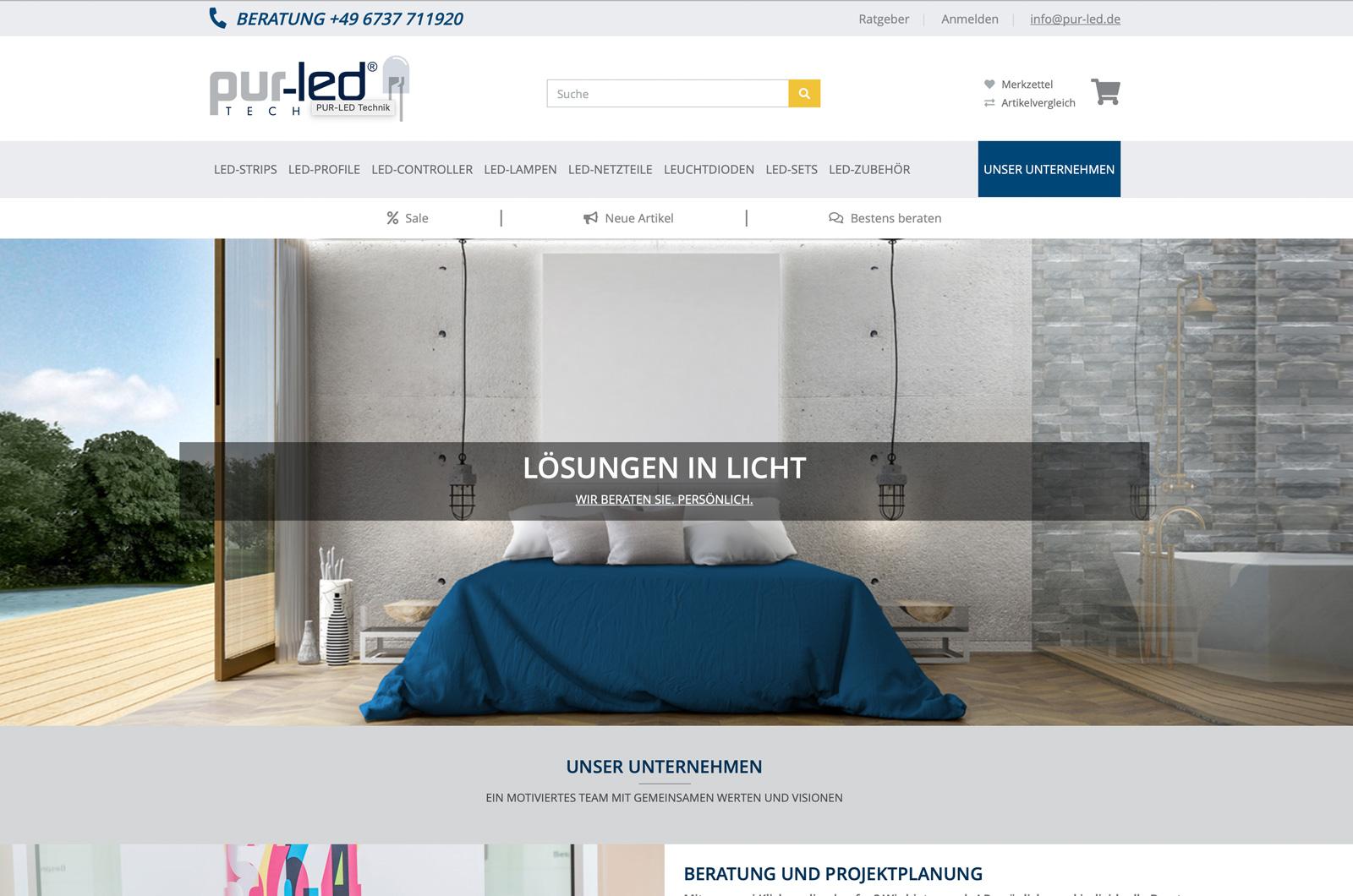 Der neue PUR-LED Online Shop