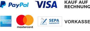 PayPal, Visa, Kauf auf Rechnung, American Express, Mastercard, SEPA Lastschrift