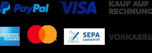 PayPal, Visa, Kauf auf Rechnung, American Express, Mastercard, SEPA Lastschrift